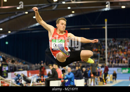 Karlsruhe, Deutschland. 03rd Feb, 2018. Weitsprung Maenner: Florian Oswald (GER). GES/ Leichtathletik/ Indoor Meeting - Stock Photo