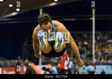 Karlsruhe, Deutschland. 03rd Feb, 2018. Weitsprung Maenner: Emiliano Lasa (URU). GES/ Leichtathletik/ Indoor Meeting - Stock Photo