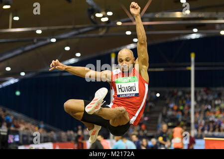Karlsruhe, Deutschland. 03rd Feb, 2018. Weitsprung Maenner: Julian Howard (GER). GES/ Leichtathletik/ Indoor Meeting - Stock Photo