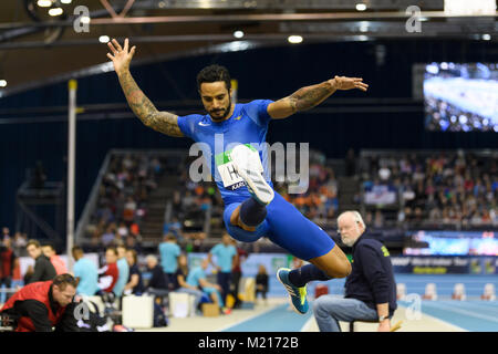 Karlsruhe, Deutschland. 03rd Feb, 2018. Weitsprung Maenner: Andrew Howe (ITA). GES/ Leichtathletik/ Indoor Meeting - Stock Photo