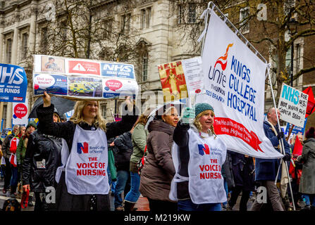 London, UK 3rd February 2018. Whitehall, London, United Kingdom. Thousands from all over the United Kingdom gather - Stock Photo
