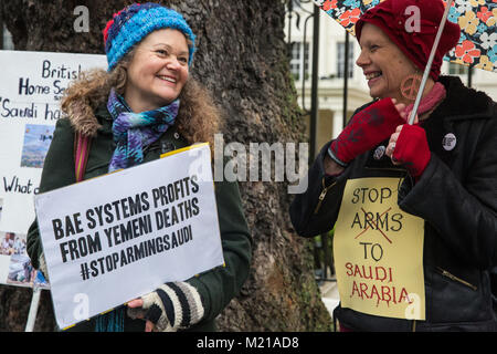 London, UK. 3rd February, 2018. Supporters of London Campaign Against The Arms Trade protest outside the Saudi Arabian - Stock Photo
