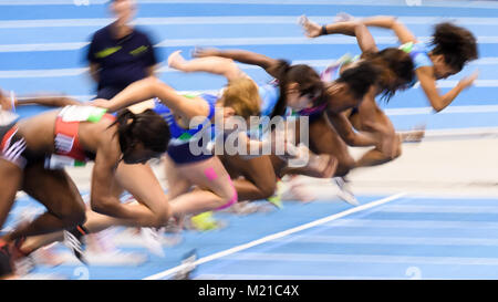 Karlsruhe, Deutschland. 03rd Feb, 2018. Feature, Wischer, Start, Sprint. GES/ Leichtathletik/ Indoor Meeting Karlsruhe, - Stock Photo