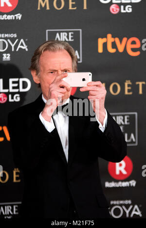 Madrid, Spain. 3rd British actor Bill Nighy and nomine for Secundary actor February, 2018. during the red carpet of Spanish Film Awards 'Goya' on February 3, 2018 in Madrid, Spain. ©David Gato/Alamy Live News