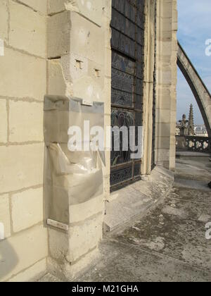 Paris, France. 27th Sep, 2017. Damaged parts of the Notre-Dame Cathedral are covered with a plastic sheet for rain - Stock Photo