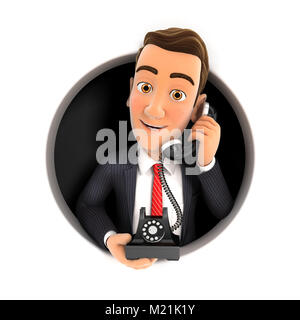 3d businessman making phone call inside circular hole, illustration with isolated white background - Stock Photo