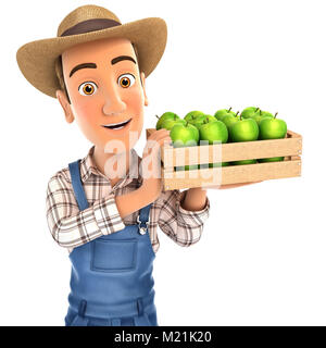 3d farmer holding crate of apples, illustration with isolated white background - Stock Photo