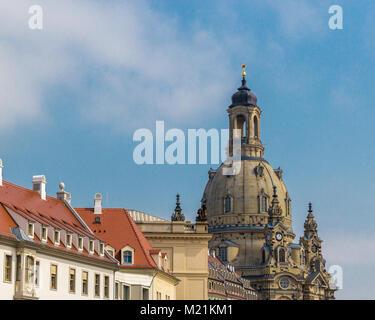 Church in Dresden Frauenkirche Sachsen Germany Daylight - Stock Photo