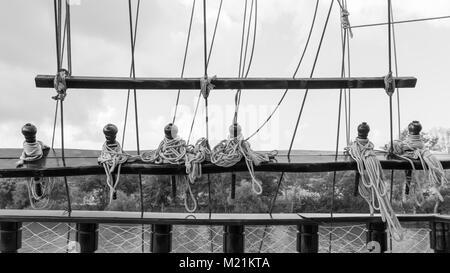 cleat on old sailing ship turk Turkey Europe - Stock Photo
