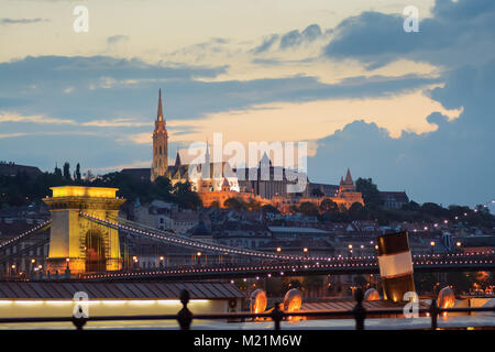 Castle hill with Matthiash temple at night, Budapest - Stock Photo