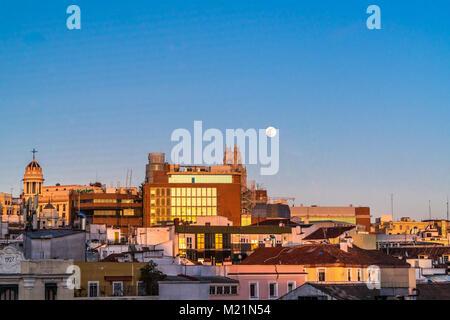Madrid, Spain - January 31, 2018 : Super blue blood moon incredibly rare phenomenon view over downtown old historic - Stock Photo