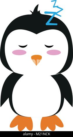 Cute penguin cartoon sleeping - Stock Photo