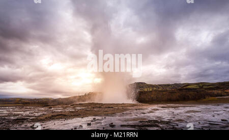 Awesome Geysir in south Iceland at s - Stock Photo