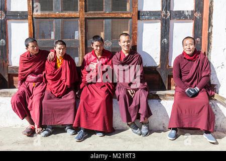Prakhar Lhakhang, Bumthang, Bhutan.  Young Buddhist Monks. - Stock Photo