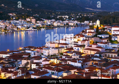 View of Poros island and Galatas village in Peloponnese peninsula in Greece. - Stock Photo