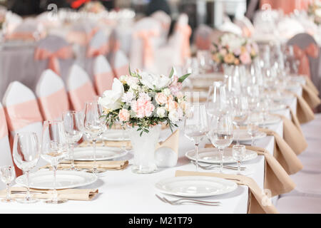 Wedding Table Setting In Restaurant · Tables Set For An Event Party Or  Wedding Reception. Luxury Elegant Table Setting Dinner In
