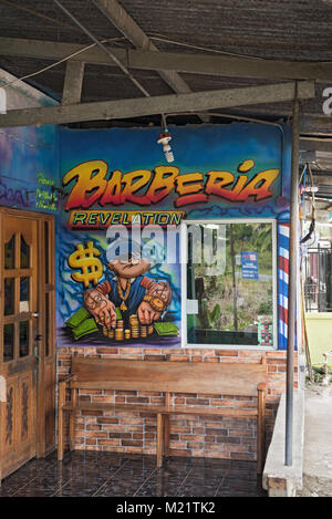 Barber shop in Guabito (Panama) on the border with Costa Rica - Stock Photo
