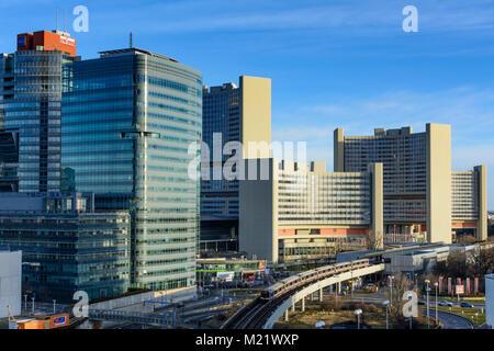 Wien, Vienna: Donaucity, VIC Vienna International Center (UNO), subway line 1, 22. Donaustadt, Wien, Austria - Stock Photo