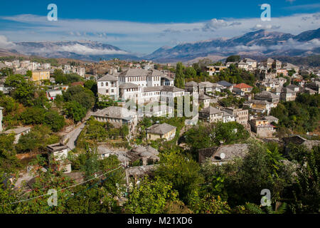 Gjirokaster is a city in southern Albania. Its old town is a UNESCO World Heritage Site, described as 'a rare example - Stock Photo