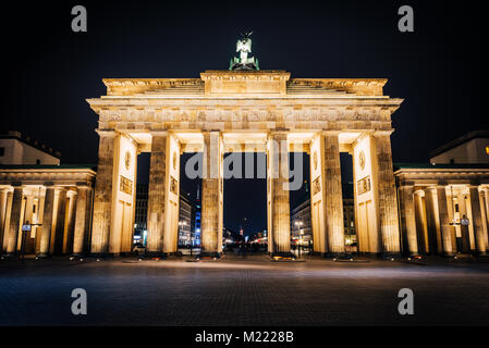 Brandenburg Gate at night. The most famous destination in Berlin - Stock Photo