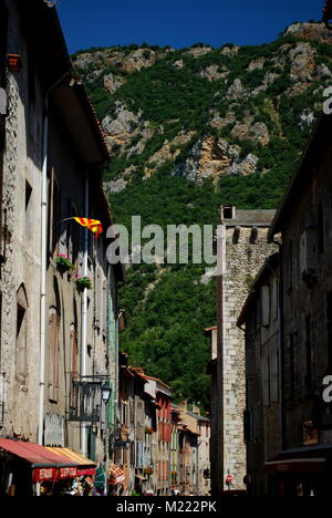 A pretty street in the pretty walled town of Villfranche de Conflent in the south of France. This medieval city - Stock Photo