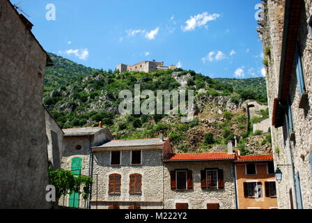 Fort Liberia overlooking the pretty walled town of Villfranche de Conflent in the south of France. This medieval - Stock Photo