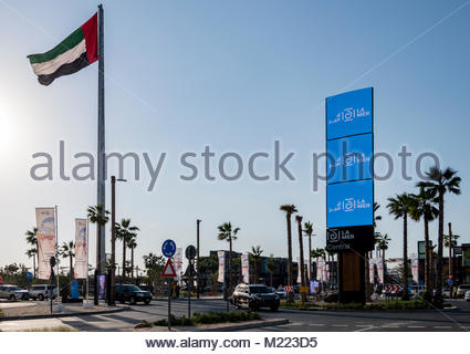 Flag Pole at La Mer, Dubai, UAE. The project opened in October 2017 is a beachfront development with retail and - Stock Photo