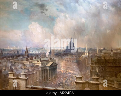 The Heart of the Empire by Niels Moeller Lund (1863-1916), oil on canvas, 1904. The painting shows the skyline of - Stock Photo