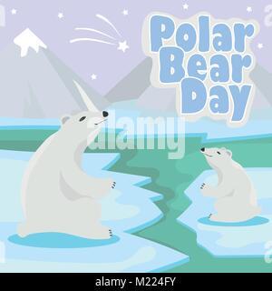 International Polar Bear Day poster. Illustration of cute Polar Bears - Stock Photo