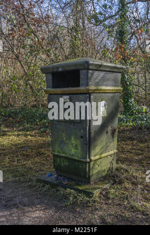 Public litter bin in recreational area - with copy space. Metaphor for recycling, environmental pollution, and perhaps - Stock Photo