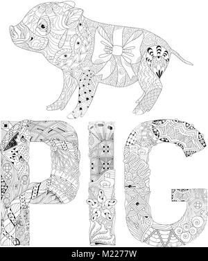 Hand drawn zentangle ornate pig. 2019 chinese new year and ...