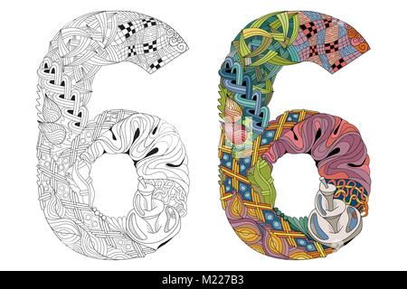 Hand-painted art design. Number six zentangle objects. Colored and outline set - Stock Photo
