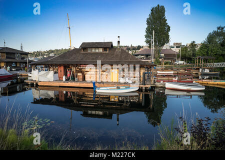 Center for Wooden Boats, South Lake Union, Seattle, Washington, USA - Stock Photo