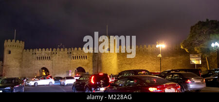 Tower of the ancient Baku city . Icheri Sheher in Baku. Azerbaijan . Gosha gala. - Stock Photo