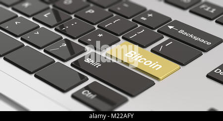 Cryptocurrency concept. Word bitcoin on the golden enter key of a modern computer keynoard. 3d illustration - Stock Photo