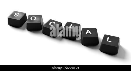Social media concept. Social written on keyboard keys on white background, banner, view from above. 3d illustration