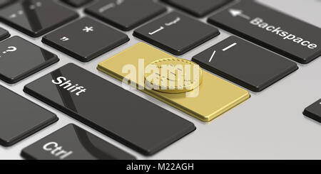 Cryptocurrency concept. Golden bitcoin on golden enter key of a modern laptop. 3d illustration - Stock Photo