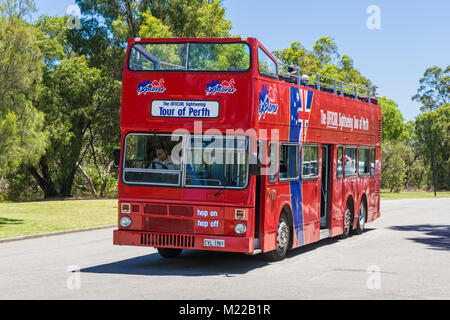 Perth Explorer Official Sightseeing Tour of Perth red open top double-decker bus in Kings Park, Perth, Western Australia - Stock Photo