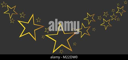 Abstract falling star vector. Illustration with golden christmas stars on black background - Stock Photo