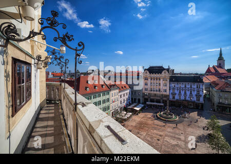 City of Bratislava Old Town Main Market Square (Hlavne namestie) in Slovakia, Europe, view from the Town Hall (Stará - Stock Photo