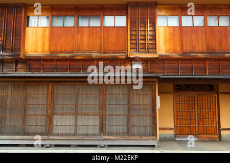 Traditional japanese wood facade in a typical house of Japan - Stock Photo