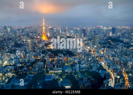 Tokyo skyline at sunset, with the famous tower of Tokyo - Stock Photo