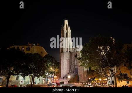 Church of Sant Feliu - Basilica of San Felix at night in Girona city, Catalonia, Spain, Europe - Stock Photo