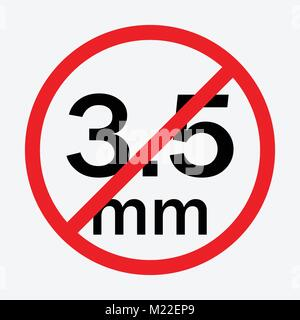 Audio jack 3.5mm in ban sign. Icon vector illustration. - Stock Photo