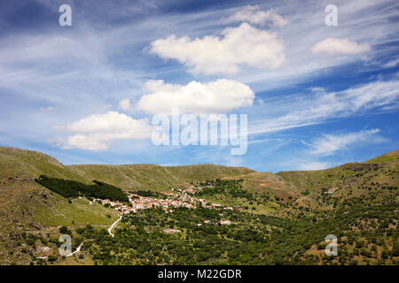Panoramic view of Agra, a traditional village in western Lesvos island, Greece. - Stock Photo
