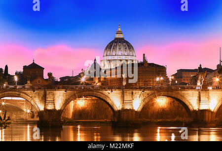 Sunset view of the Vatican with Saint Peter's Basilica,Rome, Italy. - Stock Photo