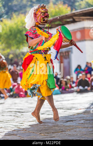 Prakhar Lhakhang, Bumthang, Bhutan.  Buddhist Monk Performing a Dance in the Duechoed Religious Festival. - Stock Photo