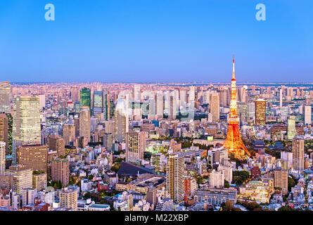 Tokyo Tower Tokyo Skyline Night Scene - Stock Photo