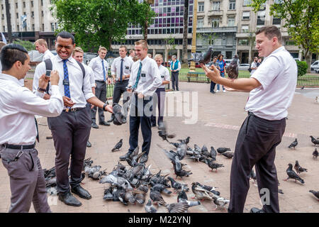 Argentina, Buenos Aires, Plaza de Mayo central square, park, Mormon, adult adults man men male, young adult, missionary, - Stock Photo