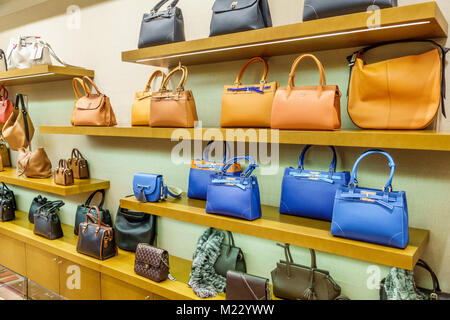 Buenos Aires Argentina Galerias Pacifico mall shopping Rossi & Caruso designer boutique Argentine leather goods - Stock Photo
